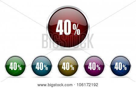 40 percent colorful glossy circle web icons set