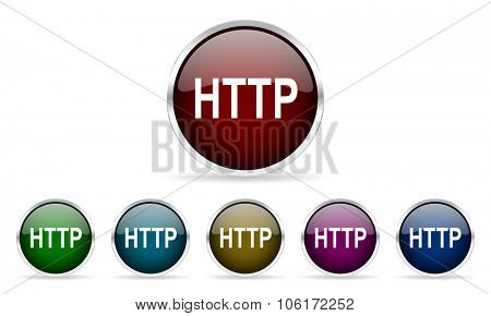 http colorful glossy circle web icons set