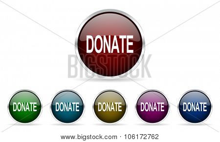 donate colorful glossy circle web icons set