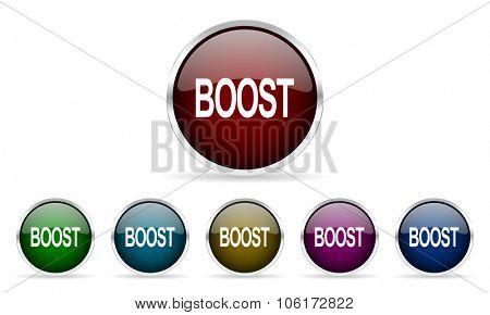boost colorful glossy circle web icons set