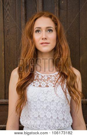 Portrait Of Red Hair Girl.