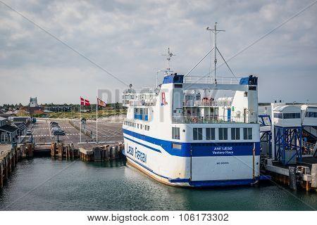 Ferry In Læsø Harbor In Denmark