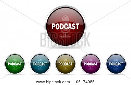 podcast colorful glossy circle web icons set