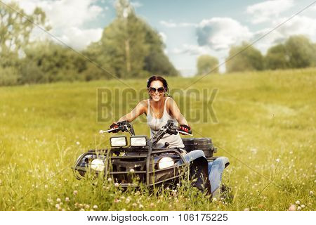 Elegant Woman Riding Quadrocycle