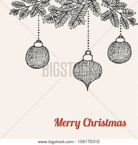 Christmas Card, Invitation With Hand Drawn Doodle Christmas Balls, Baubles, Vector