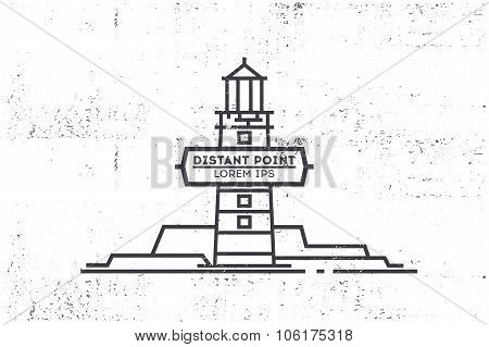 Beacon Line Illustration. Grunge Texture. Stock Vector.