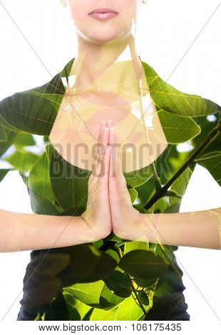Double exposure portrait of young woman making