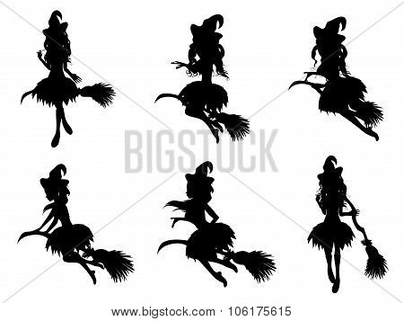 Witch With Broom Silhouette