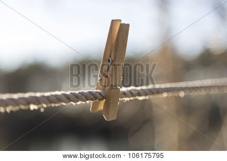 Wooden Clothes Pin On Clothes Line