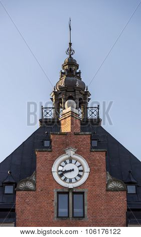 The Town House Clock And Steeple In Umeå, Sweden