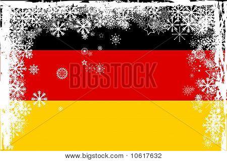 German Flag With Snowflakes Grunge