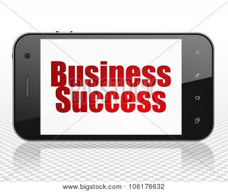Business concept: Smartphone with Business Success on display