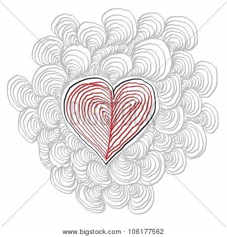 Simple Heart Hand-drawn Illustration, Valentine Day Concept. Love And Passion Theme, Loving Relation