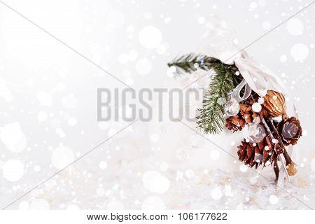 White Snowy Christmas Decoration With Cones