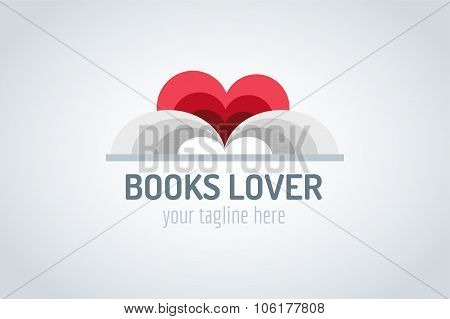 Books heart vector logo