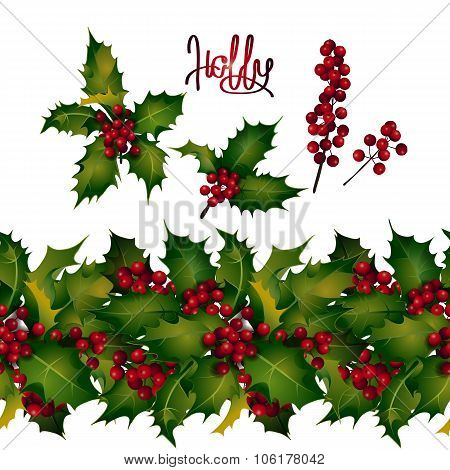 Holly leaves and berries, endless border