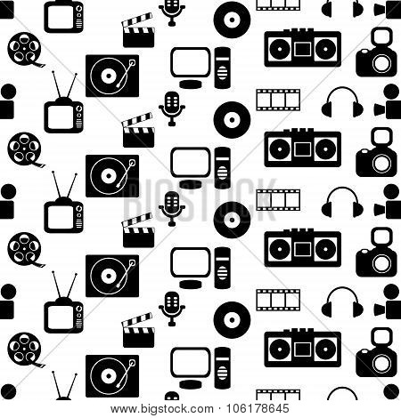 media seamless pattern with music and movie icons
