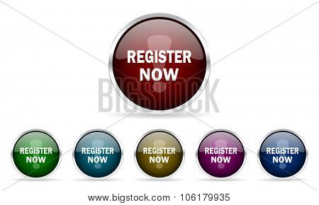 register now colorful glossy circle web icons set