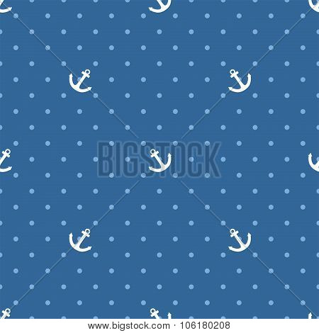 Tile vector pattern with white anchor and polka dots on blue background