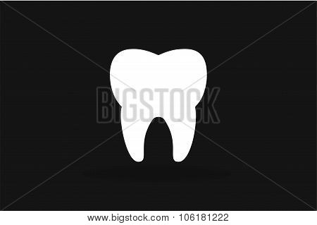 Tooth black and white Icon vector silhouette