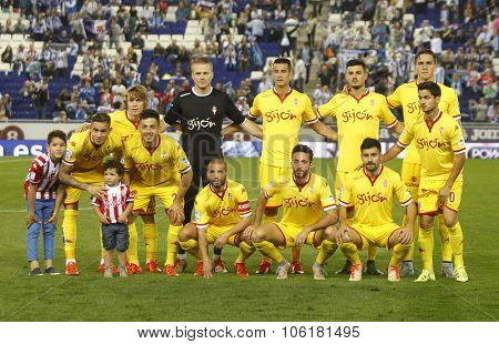 BARCELONA - OCT, 3: Sporting Gijon lineup before a Spanish League match against RCD Espanyol at the Power8 stadium on October 3 2015 in Barcelona Spain