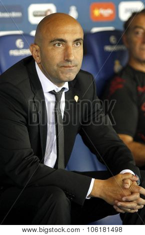 BARCELONA - OCT, 3: Abelardo Fernandez manager of Sporting Gijon during a Spanish League match against RCD Espanyol at the Power8 stadium on October 3 2015 in Barcelona Spain