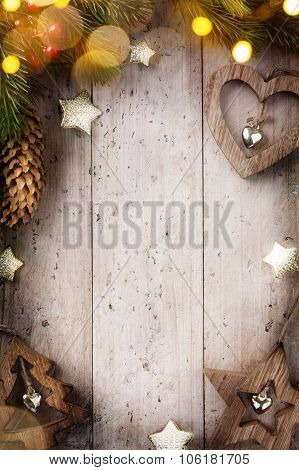 Art  Christmas Festive Background With Christmas Decorations