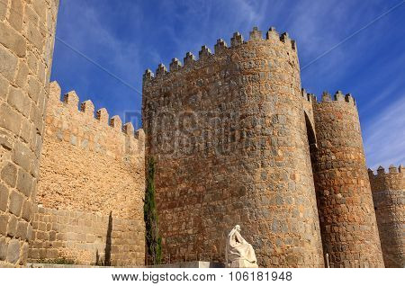 White Saint Teresa Statue Avila Castle Walls Castile Spain