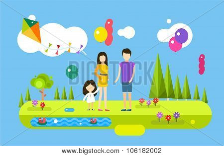 Happy family birthday holiday weekend summer time background with balloons