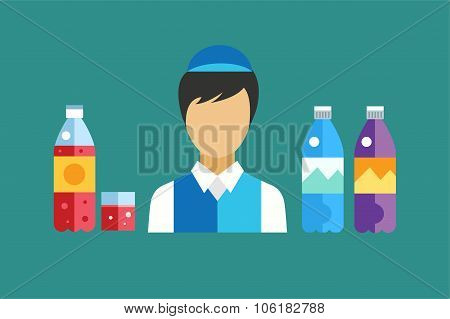 Water, soda and juice or tea bottles vector Illustration. Seller shop worker abstract face silhouett
