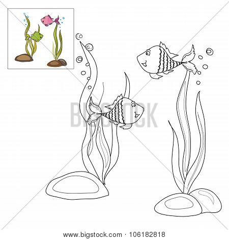 Picture For Coloring - Two Fish .