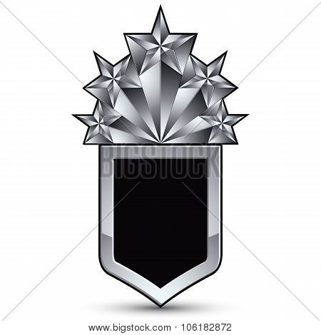 Vector Glorious Glossy Design Element With Luxury 3D Silver Star, Silvery Conceptual Graphic Templat