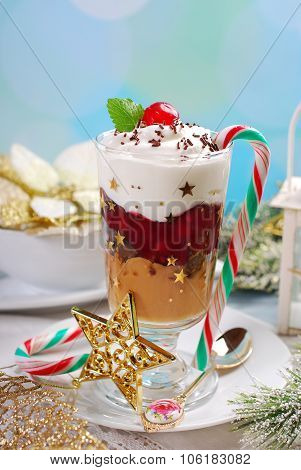 Coffee And Cream Dessert With Cherry For Christmas