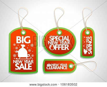 Sale New Year Tags Set, red