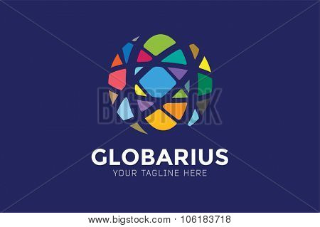 Vector abstract earth globe logo design. Earth logo. Globe logo icon. Abstract globe logo template. Round globe shape and earth globe symbol, technology icon, geometric globe logo. Company globe logo