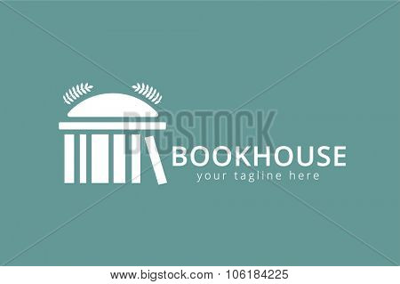 Vector book house template logo icon. Back to school. Education, university, college symbol or knowledge, books stack. Library logo. School building. House logo silhouette. University logo icon