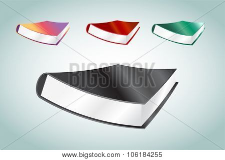 Book 3d vector illustration isolated on white. Back to school. Education, university, college symbol or knowledge, books stack, publish, books page paper. Books stack. Books isolated. Books vector