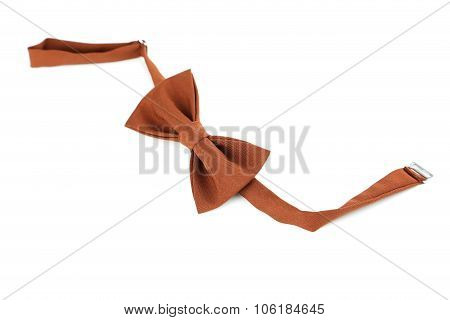 Brown Bow Tie Isolated On A White