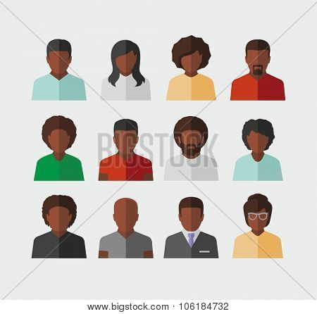 Vector Afro American People Icons