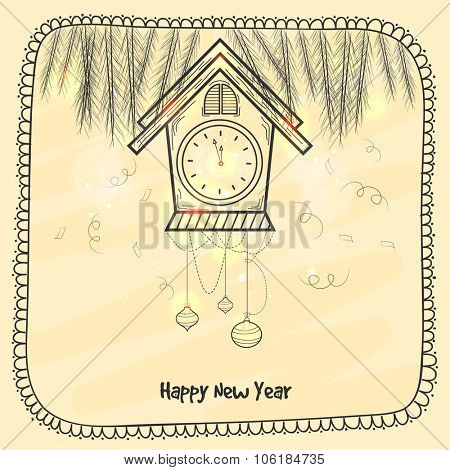 Beautiful greeting card design with fir tree branches and clock showing almost Twelve 'O' Clock for Happy New Year celebration.