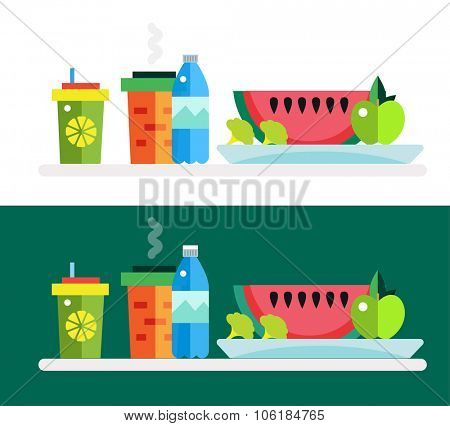 Vegetarian food shop market object icons. Nature product objects, vitamin symbol, healthy food, green vegetables, vegetarian soup and healthy food. Design elements. Eco nature food, food icons