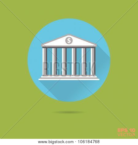 Bank or stock exchange building flat design vector icon