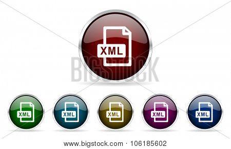 xml file colorful glossy circle web icons set