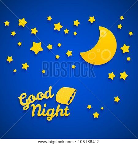 Good Night Bed Time Illustration For Children. Stars, Moon, Pillow And Inscription