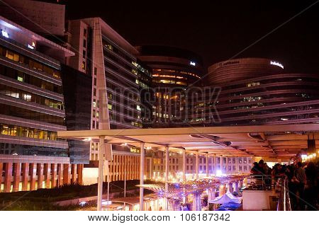 Modern buildings in gurgaon at night