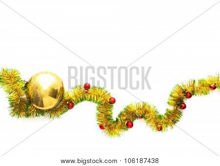 Greeting Card Made Of Yellow And Green Tinsel Frame With Red Christmas Balls