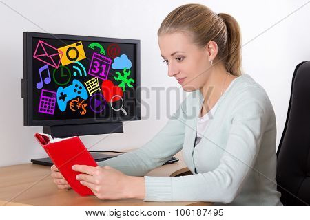 Book Versus Computer - Young Woman Reading Book
