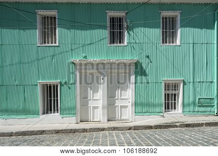 Typical Facade Covered In Zinc, Santa Lucia Hill, Valparaiso