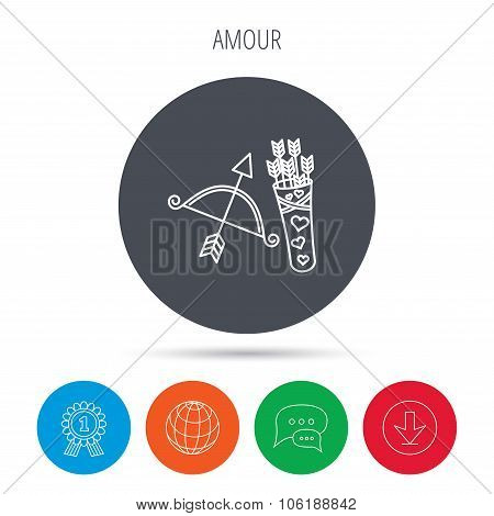 Amour arrows and bow icon. Valentine weapon sign