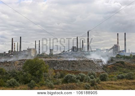 Large City Garbage Dump Near The Operating Plants. Environmental Pollution